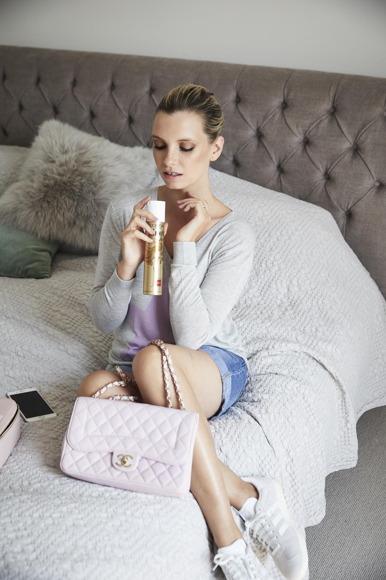 pink chanel handbag and elnett