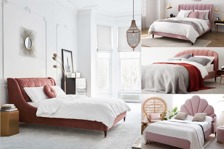 best pink upholstered velvet beds