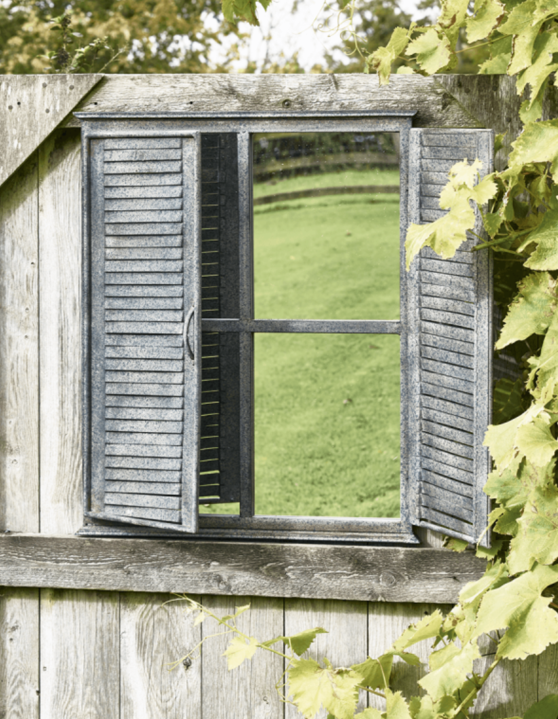 outdoor mirror window with shutter