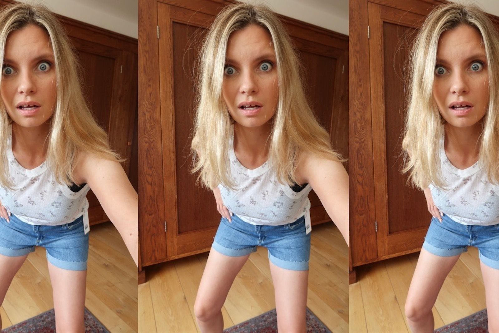 Screenshot of Ruth Crilly try on video with short shorts